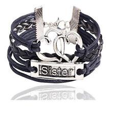 Infinity Schwester Sister Armband Schwarz Silber Leder Unendlichkeit Familie