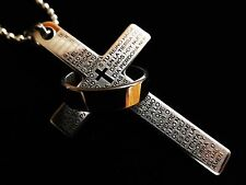 SILVER Religious Stainless Steel LORDS PRAYER CROSS NECKLACE Ring Gents Mens