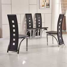 4X High Back Faux Leather Dining Chairs Chrome Legs Livingroom KD Chairs Black