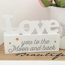 """CONTEMPORARY WHITE WOODEN SIGN PLAQUE GOLD STARS """"I Love You To The Moon"""" GIFT"""