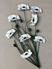 Metal Wall Art Green Stem With White Aged Flower Contemporary Garden Home Gift