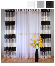 Eyelet Ready Made Voile Striped Curtains White Grey Black Ready Hang Silver Pair