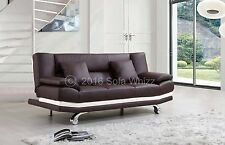 BROWN LEATHER SOFA BED MILAN ONLY £199, FREE DELIVERY, 2 FREE CUSHIONS