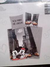 Herding Bettwäsche Baumwolle Mickey + Minnie New York 135x200 + 80x80 cm NEU,OVP