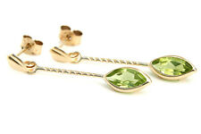 9ct Gold Peridot Drop Earrings Made in UK Gift Boxed