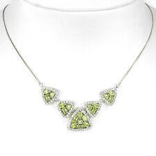 Collier Peridot & CZ 925 Silber 585 Weißgold