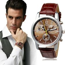 Men's: Designer Tachymeter Chronograph Sports Watch with Crocodile Leather Strap