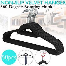 Coat Hangers Nonslip Flocked Velvet Clothes Garment Space Saving Tie Bar 50 PCS