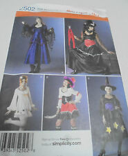 2502 Simplicity Ladies Costume Sewing Pattern Witch Gypsy Pirate  8-16 UNCUT
