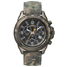Timex Uhr T49987 EXPEDITION Rugged Chronograph Leder Camouflage Watch NEU & OVP