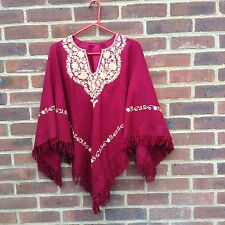 Vintage Embroidered Wool Blend Cape Poncho Crewel Boho Hippy Folk On Trend Rare