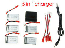 5x Spare 3.7V 750mAh Battery with 5 in1 Charger For MJX X400 RC Quadcopter Drone