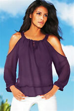NEXT Purple Sheer Cold Shoulder Cutout Blouse Long Sleeve Chiffon Party Top 6-8