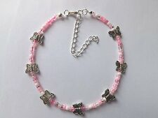 """""""Pretty in Pink"""" Beaded Butterfly Anklet"""
