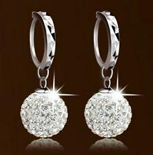 Fashion New Vintage White Gold Filled Crystal Rhinestone Hoop Earrings Women Hot
