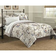 King 7 Pc Comforter Bedding Set Nautical Lighthouse Sail Navy Tan White Design