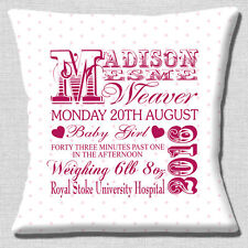 """PERSONALISED BIRTH ANNOUNCEMENT Name Date Weight Time 16"""" Pillow Cushion Cover"""