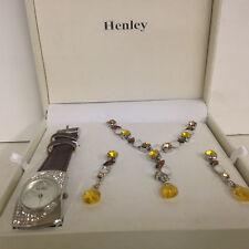 Fashion  Women Girl Diamond Leather Bracelet Quartz Wrist Watch + Neckless