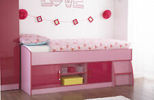 Childrens Girls Caspian Pink Gloss Two Tone Cabin Midsleeper Storage Single Bed