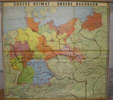 Schulwandkarte Wandkarte Schulkarte Heimat und Nachbarn Deutschland 168x155cm