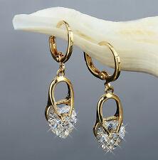 Luxus Herz Ohrringe Hänger Zirkonia weiss 750er Gold 18 Karat vergoldet O1272