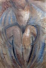 """"""" Sitzender"""",   ausdrucksstarke Mischtechnik von M. Jacoby, Belgien, 1988"""