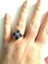 10K WHITE GOLD 2.95 CTW IOLITE & TANZANITE CLUSTER RING SIZE R / 9