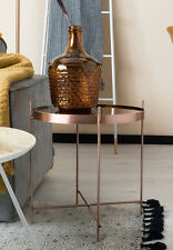 Copper Metal/Glass Coffee Side Table Designer Style Decor Trendy Furniture Round