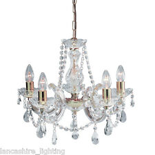 SALE - MARIE THERESE CRYSTAL GLASS CHANDELIER IN POLISHED BRASS - 5 LIGHT