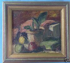 Impressionismus Spachtel Ölgemälde Stillleben Pflanze Obst Buch Signiert Rad?~20