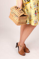 Rockabilly retro woven wicker/ straw hardcase clutch bag / box bag