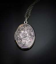 Opium Solid Perfume in Sterling Silver Locket Oval Necklace pendant