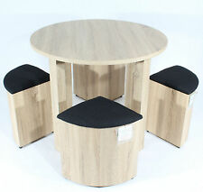 DINING TABLE with Four Black STOOLS SET 4 Oak CHAIRS Space Saver Furniture NEW