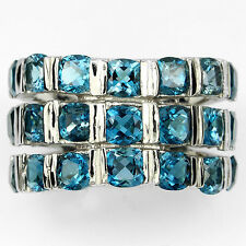 Sterling Silver 925 Genuine London Blue Topaz 3 Row Band Ring Size R.5 (US 9)