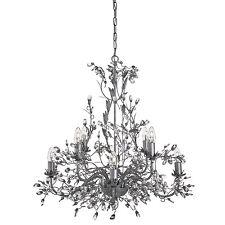 Almandite Antique Silver 8 Light Chandelier Ceiling Fitting Crystal Dressing New