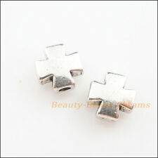 10Pcs Tibetan Silver Tone Smooth Cross Spacer Beads Charms 8mm