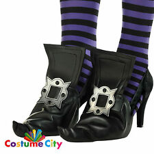 Childrens Halloween Witch Black Shoe Covers Fancy Dress Costume Accessory