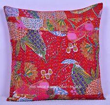 "Cotton Cushion Cover Kantha Patchwork Pillow Case Vintage Multicolor Throw 16"""