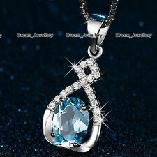 XMAS GIFTS FOR HER - Blue Crystal Necklace Women Gifts for Girls Wife Mother K1