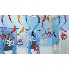 DELUXE 40TH HAPPY BIRTHDAY PARTY SWIRLS HANGING DECORATION PACK OF 15