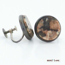 Vintage Sterling Silver Salmon and Brown Agate Hardstone Disc Earrings