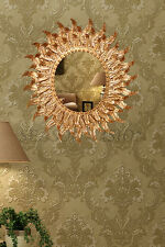 Dipamkar®Ornate Vintage Style Oval Gold Leaf Sunburst Decorative Wall Mirror