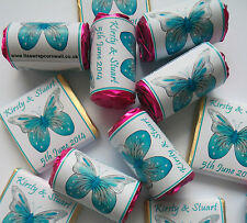 20 PERSONALISED TURQUOISE BUTTERFLY LOVE HEART SWEETS WEDDING HEN NIGHT FAVOURS