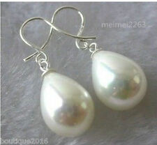 Charming Pair white Shell Pearl Drop woman Earrings jewelry 16x12mm