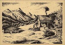 Zillertal Österreich Tirol um 1950 alte Künstlerkarte Berghütte Bauernhof Alpen