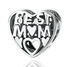 1pcs Sterling solid silve best mom Charm fit European Silver Bracelet #F461