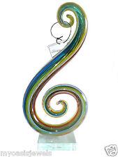 Glassware Art Glass Modern Abstract Hand Blown Swirl Sculpture 12x6x3