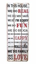 In This House, Wall Art Hanging Wooden Wall Plaque Sign Board - H80cm x W30cm
