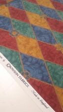 Harlequin Style Fabric Crowsons Diamond Multi Coloured Patchwork Almora