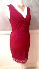 NEXT CLASSY SIZE 14 RED LACE PENCIL WIGGLE DRESS BNWT NEW IN